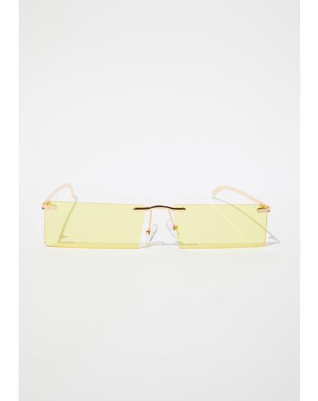Sun Lil Bit Shady Frameless Rectangle Sunglasses