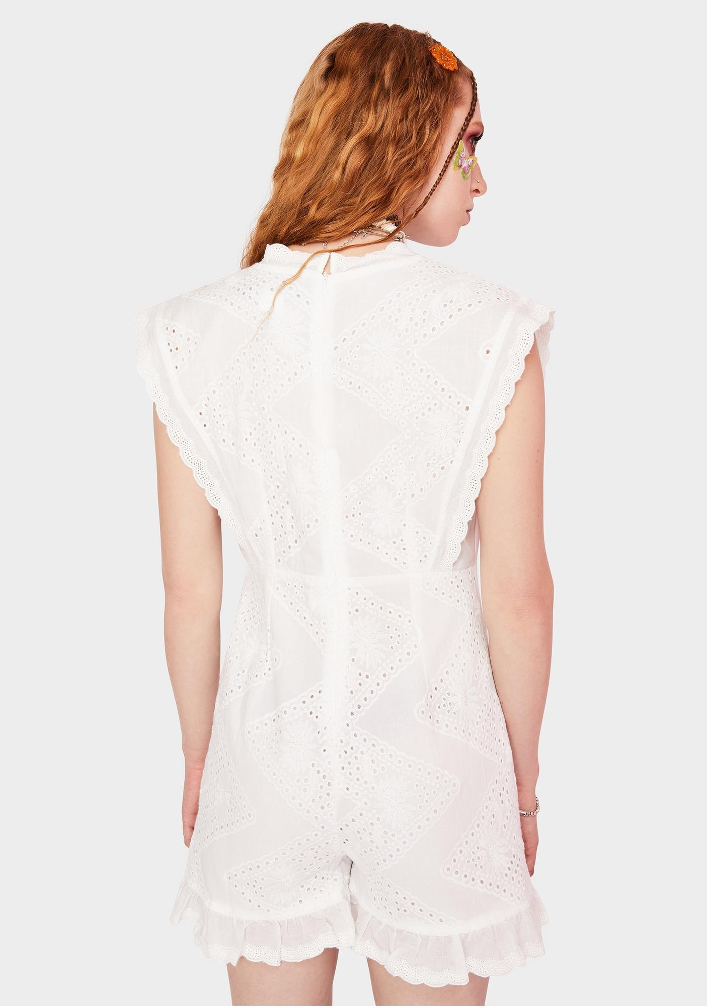 Daisy Street White Lace Button Down Playsuit