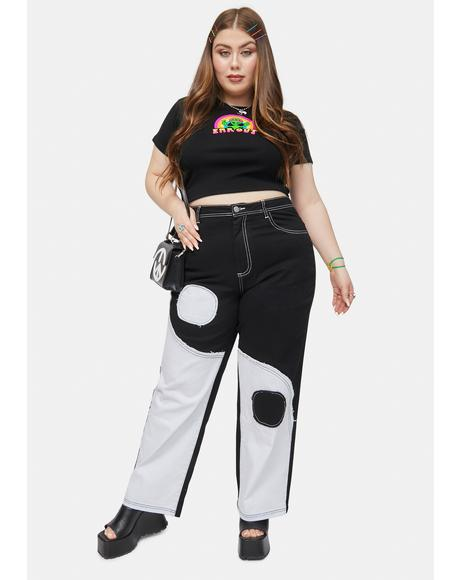 She's Trippy Dippy Yin Yang Patchwork Twill Pants