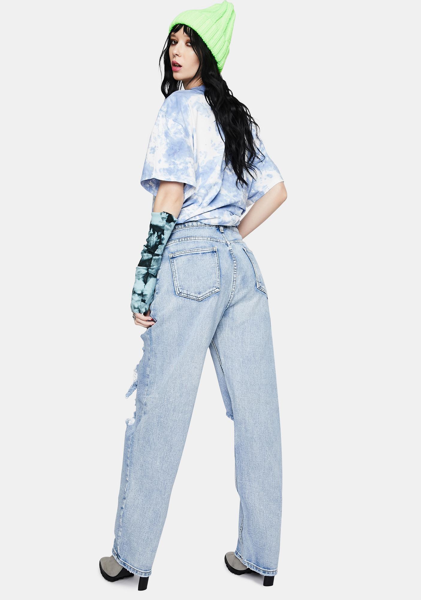 Momokrom Light Wash Distressed High Waist Boyfriend Jeans
