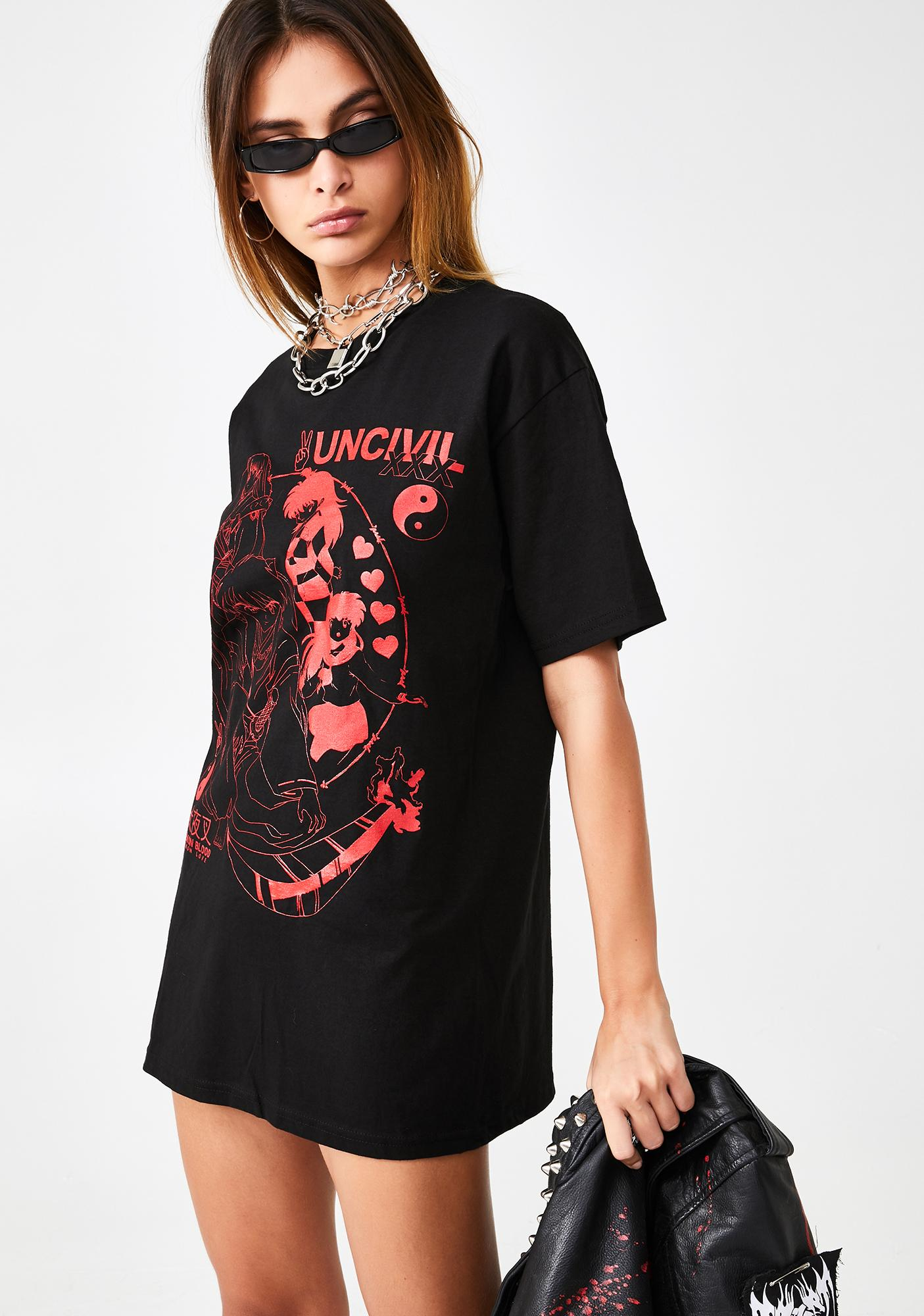 UNCIVIL XXX Demon Blood Demon Love Graphic Tee