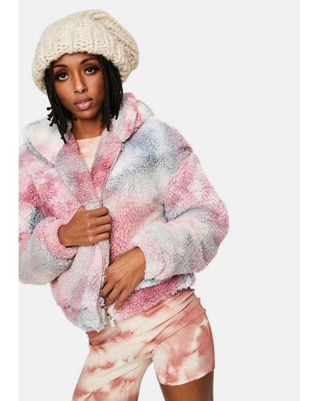 Mauve Simple Things Tie Dye Sherpa Jacket