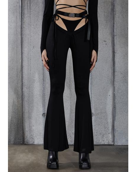 Snare Thong Cut-Out Flare Pants
