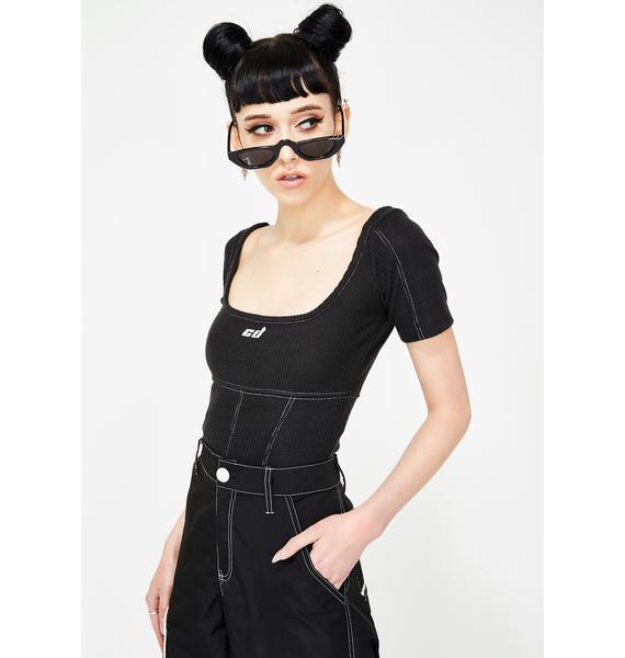 Criminal Damage Contrast Stitch Black Bodysuit