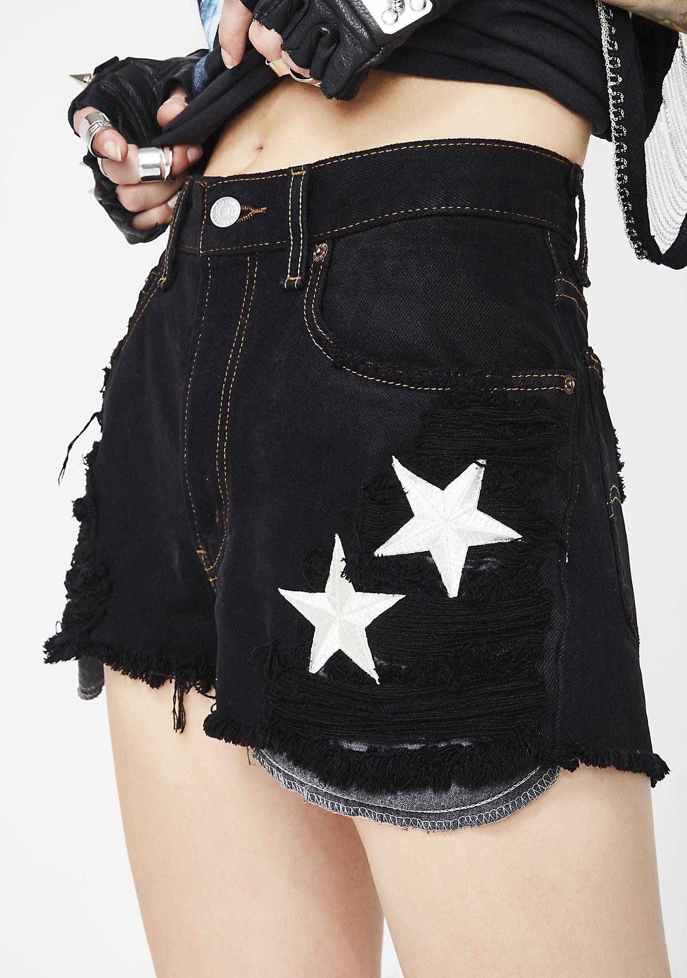 Trendy and Tipsy Star Denim Shorts