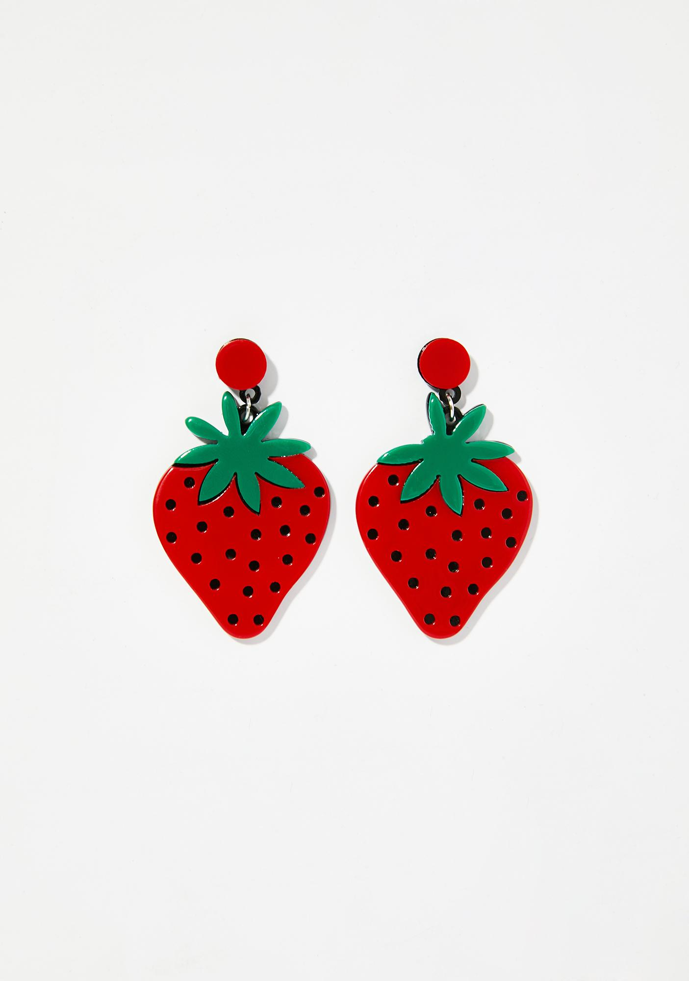 Succulent Bite Strawberry Earrings