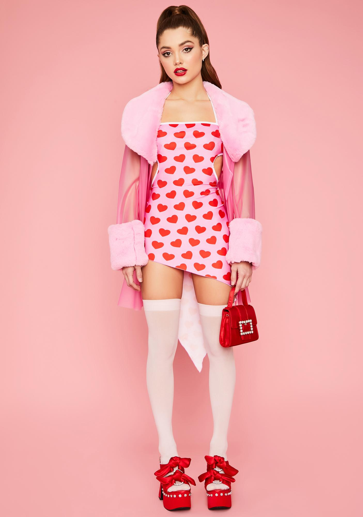 How She Does It Heart Cutout Mini Dress