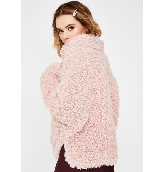 ZEMETA Pink Forest Walk Faux Fur Jacket