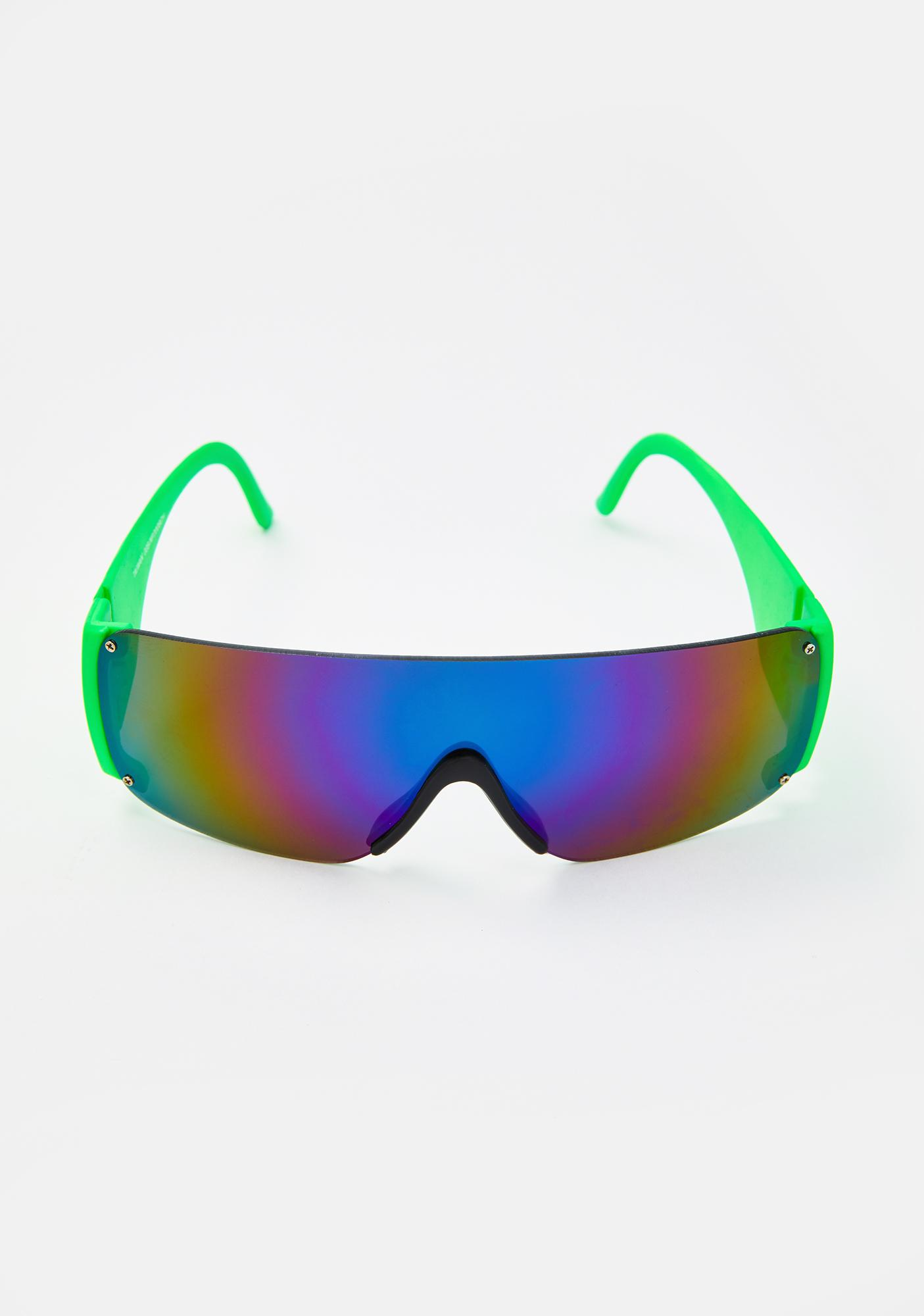 Good Times Eyewear Green Neon Shield Sunglasses