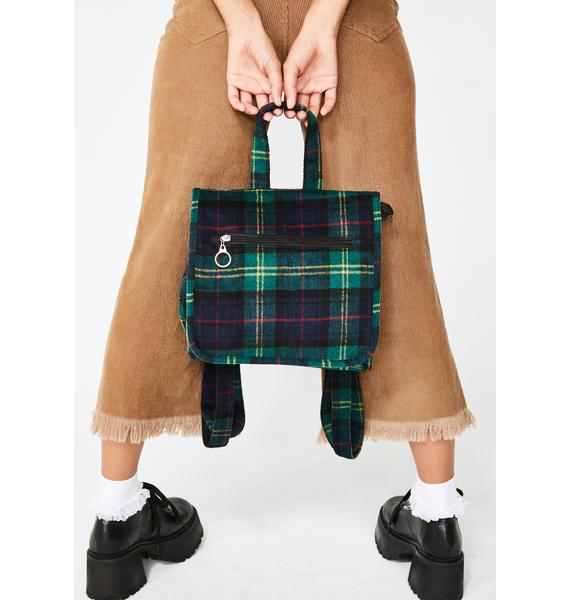 Social Destruction Plaid Backpack