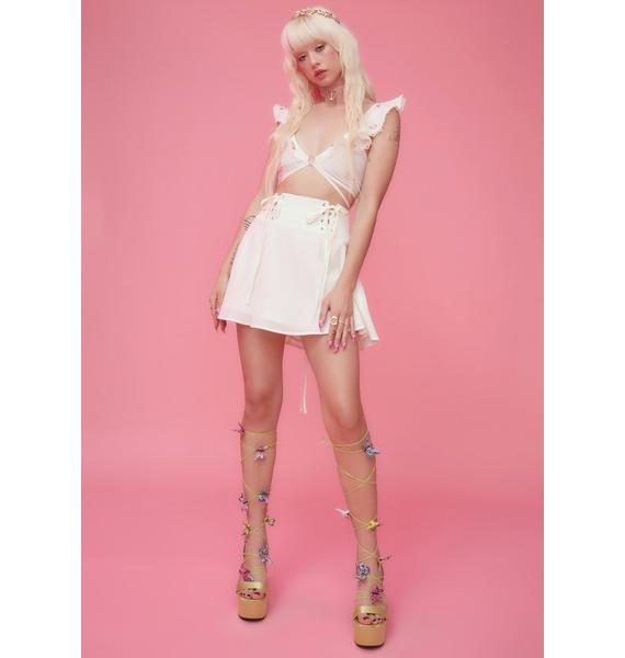 Sugar Thrillz Eve's Garden Lace-Up Satin Skirt