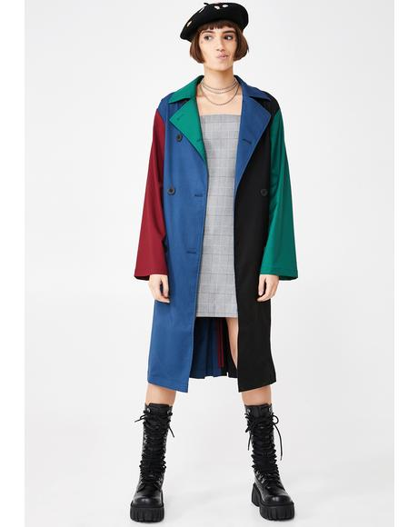 Color Panel Trench Coat
