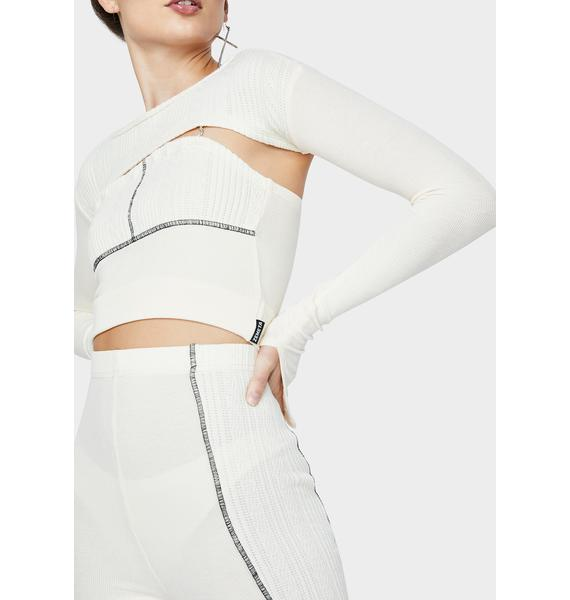 ZEMETA Ivory Split Cut Dia Knit Top