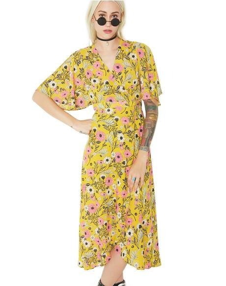 Sunflower Fields Wrap Dress