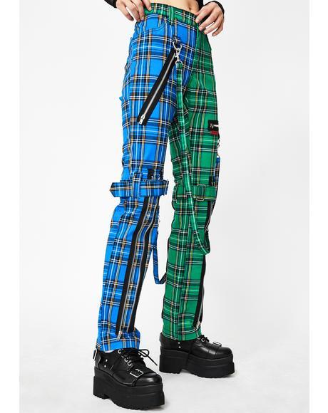 Split Leg Blue Plaid Bondage Pants