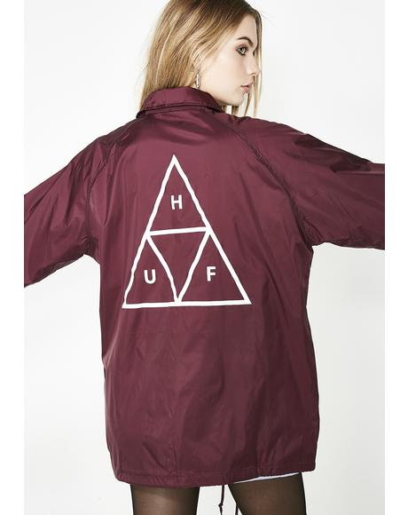 Maroon Triple Triangle Coaches Jacket