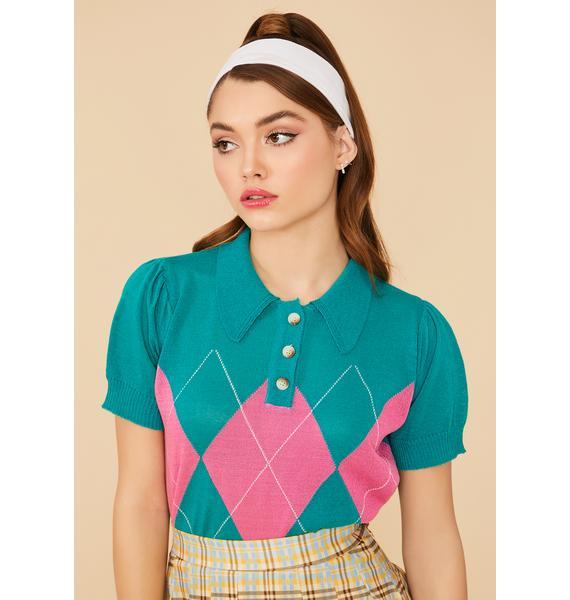Prep School Queen Retro Argyle Knit Crop Top