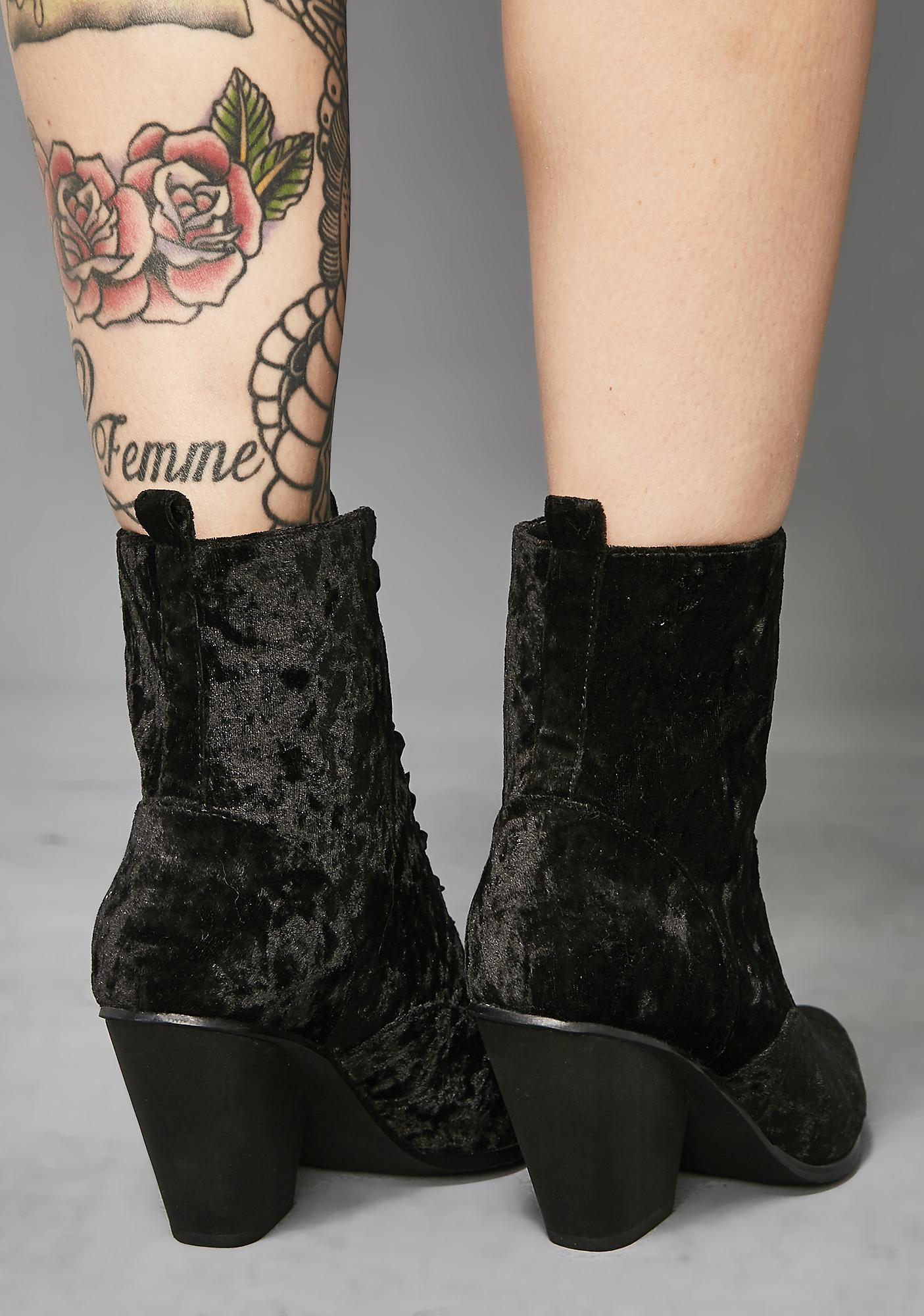 Widow Love Sick Velvet Granny Boots