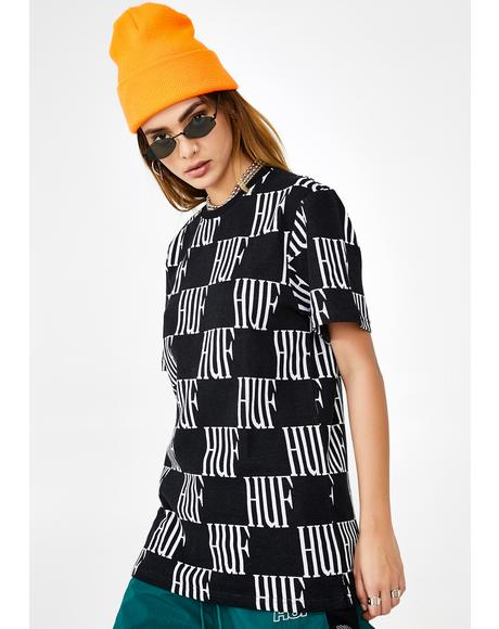 Big Checked Knit Graphic Tee