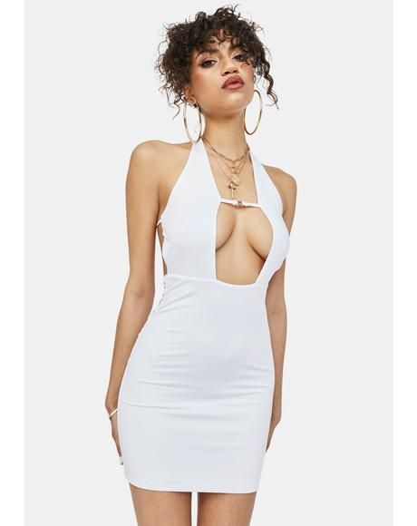 Icy Leveled Up Slinky Halter Mini Dress