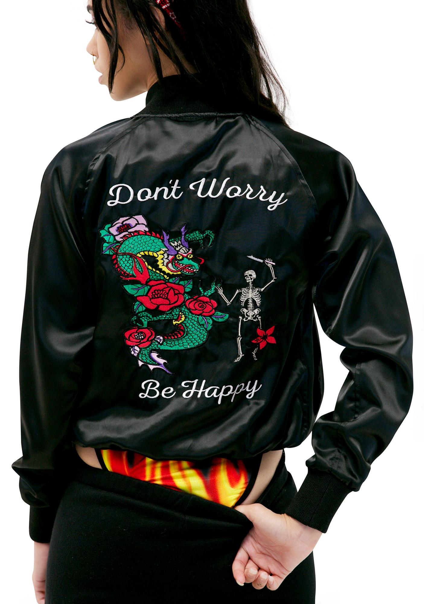 Valfré Jet Black Don't Worry Satin Jacket