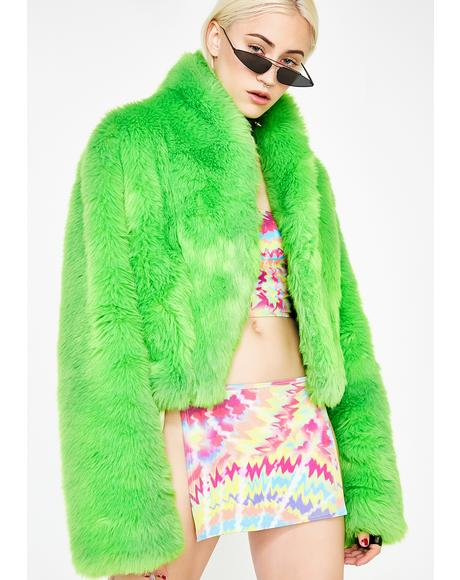 Slimed Plush Funk Fur Coat