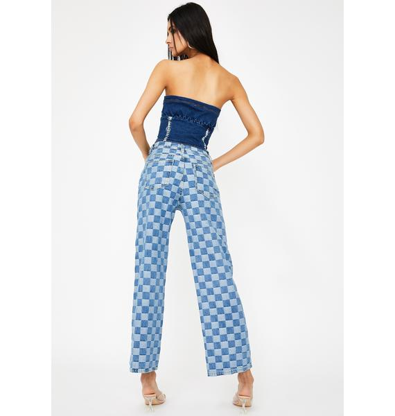 Alzang Denim Checkerboard Wide Leg Jeans