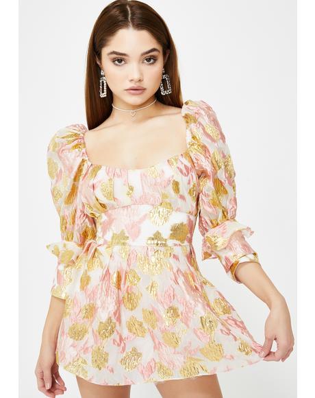Rose Madame Brocade Babydoll Dress