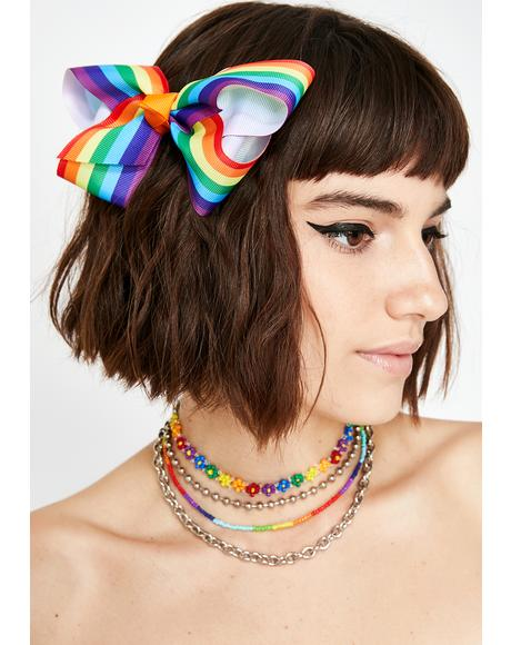 Kaleidoscope Skies Bow Hair Clip