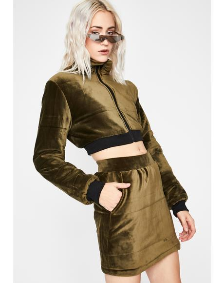 Olive Make 'Em Sweat Skirt Set