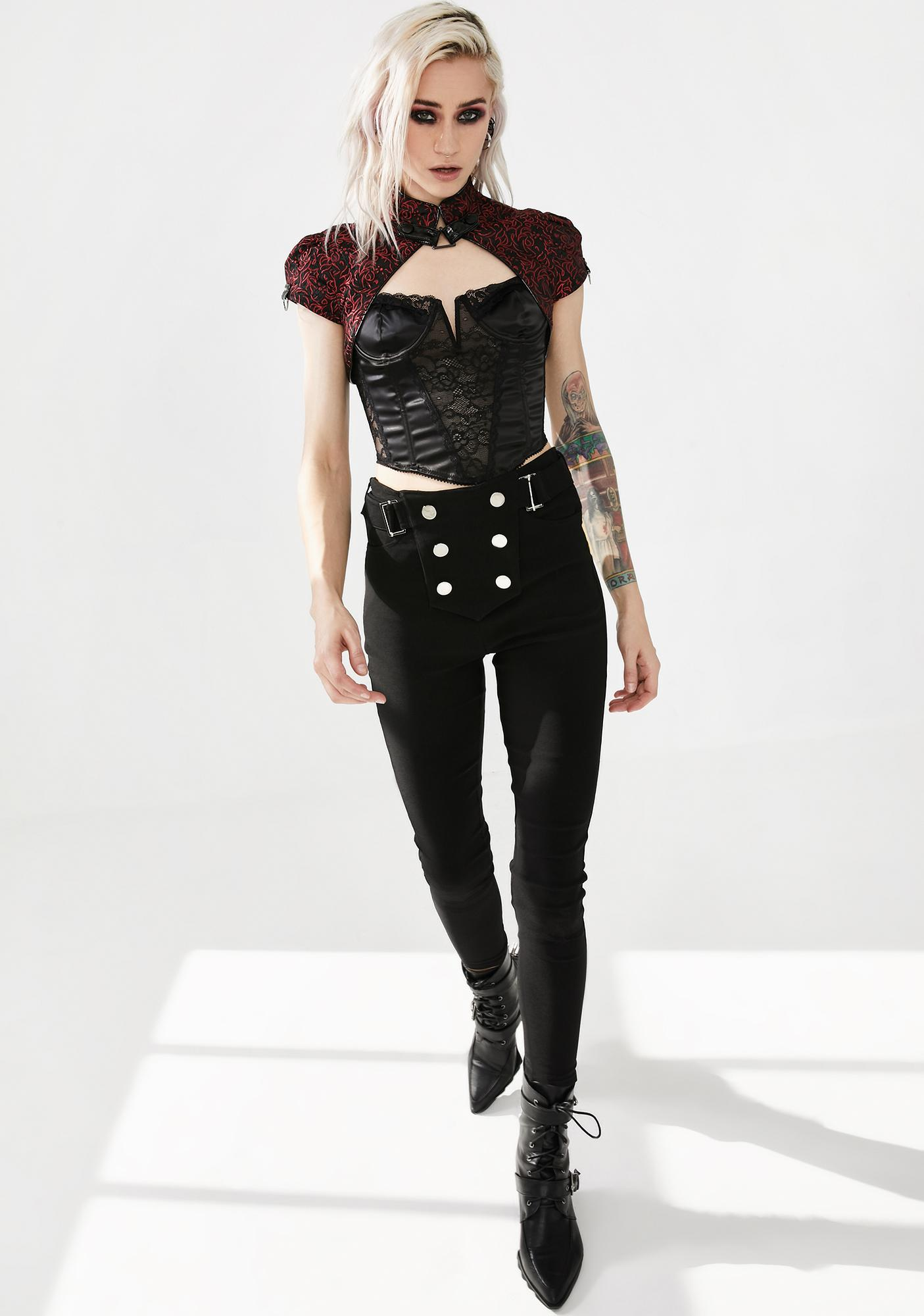 Punk Rave Red Bloody Jacquard Shrug Jacket