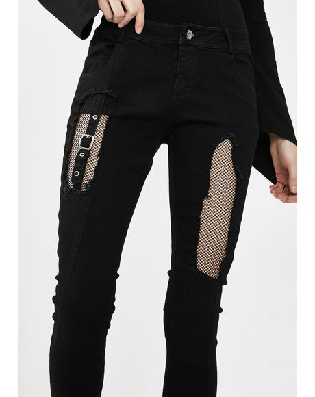 Fishnet Panel Torn Skinny Jeans