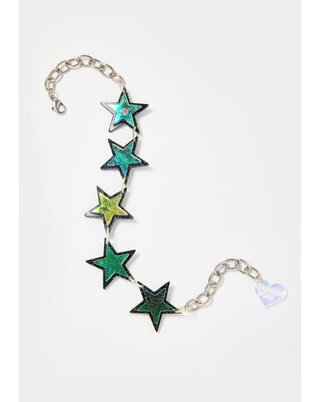 Holographic Glitter Star Choker