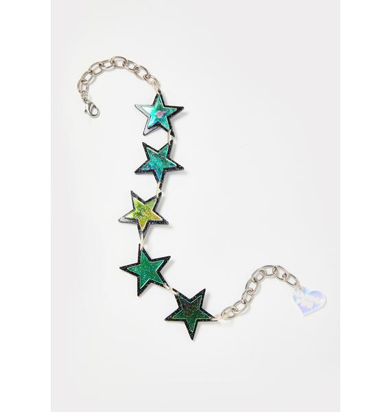 Marina Fini Holographic Glitter Star Choker