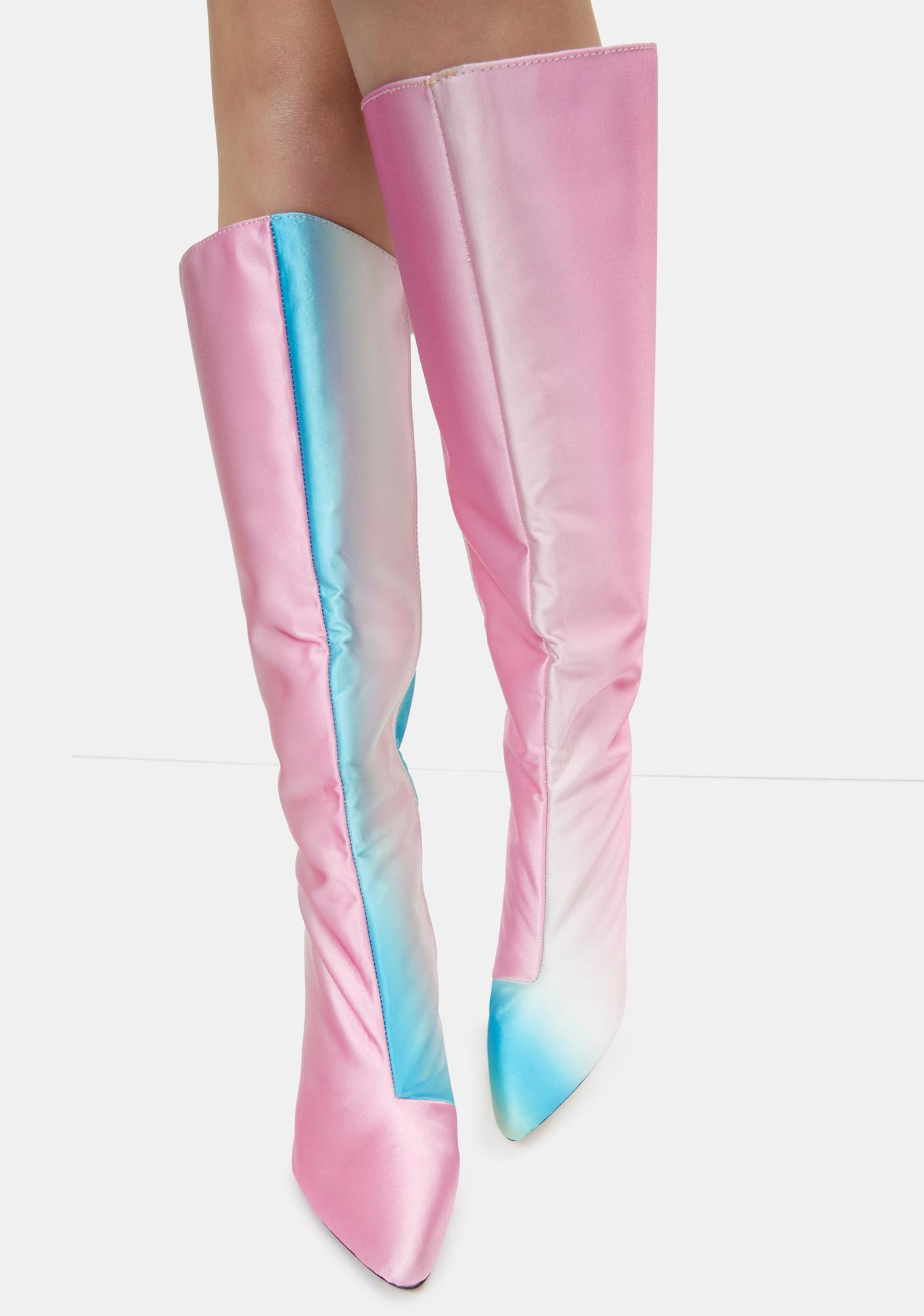 Lemon Drop by Privileged Yellow Pink Laurette Knee High Boots