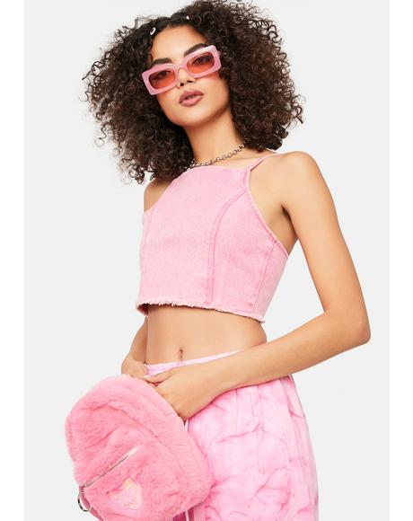 Pink Lucky Charm Crop Top