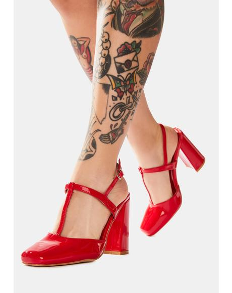 Red Romy Closed Toe Heels