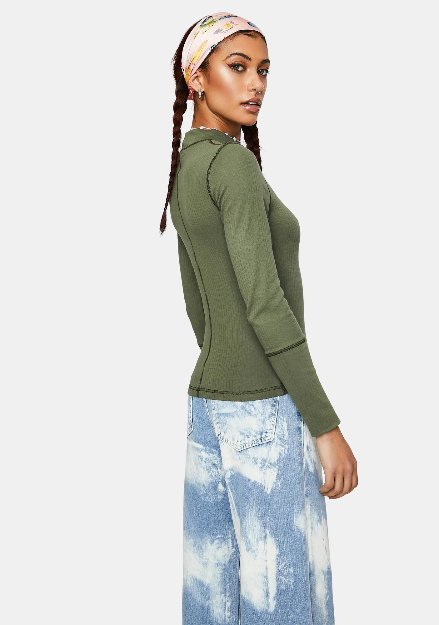 Free People The Rickie Mock Neck Top