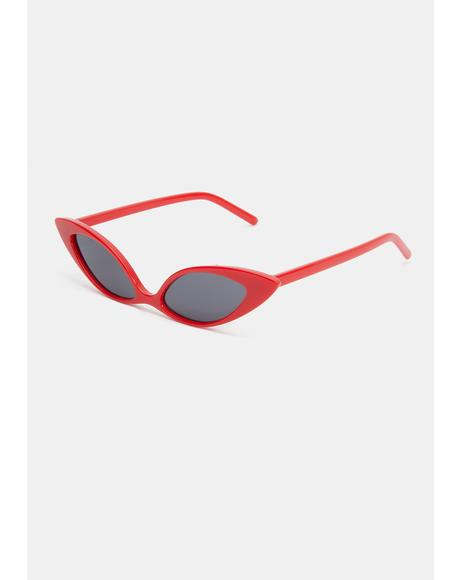 Crimson Sassy but Sweet Cat Eye Sunglasses