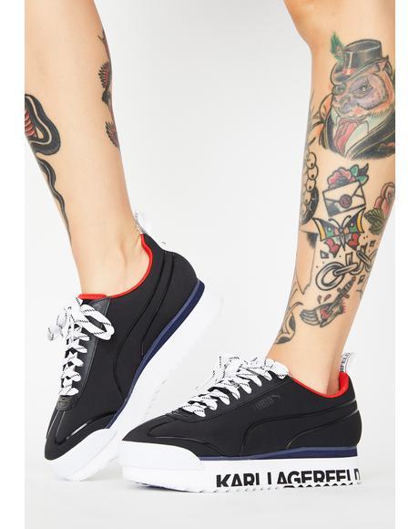 X Karl Lagerfeld Black Roma Amor Platform Sneakers