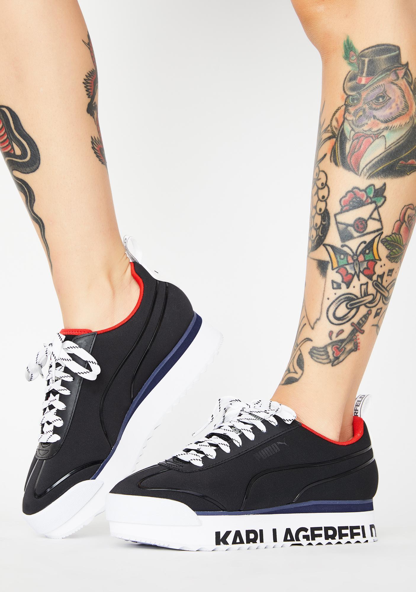 X Karl Lagerfeld Black Roma Amor Platform Sneakers by Puma