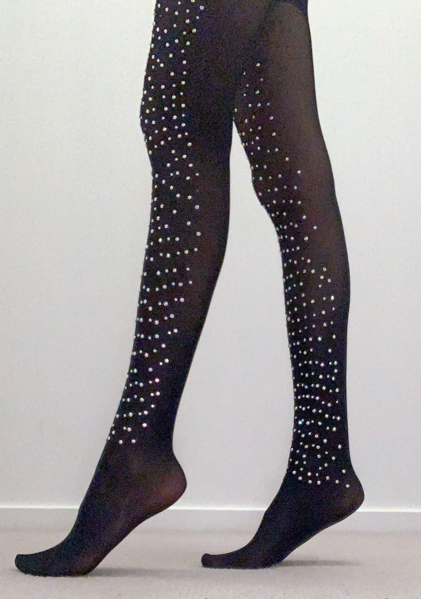 Noir Over The Top Rhinestone Tights