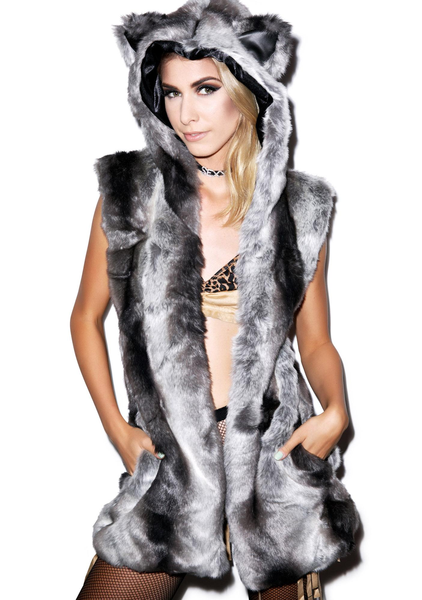 J Valentine Chinchilla Hooded Vest