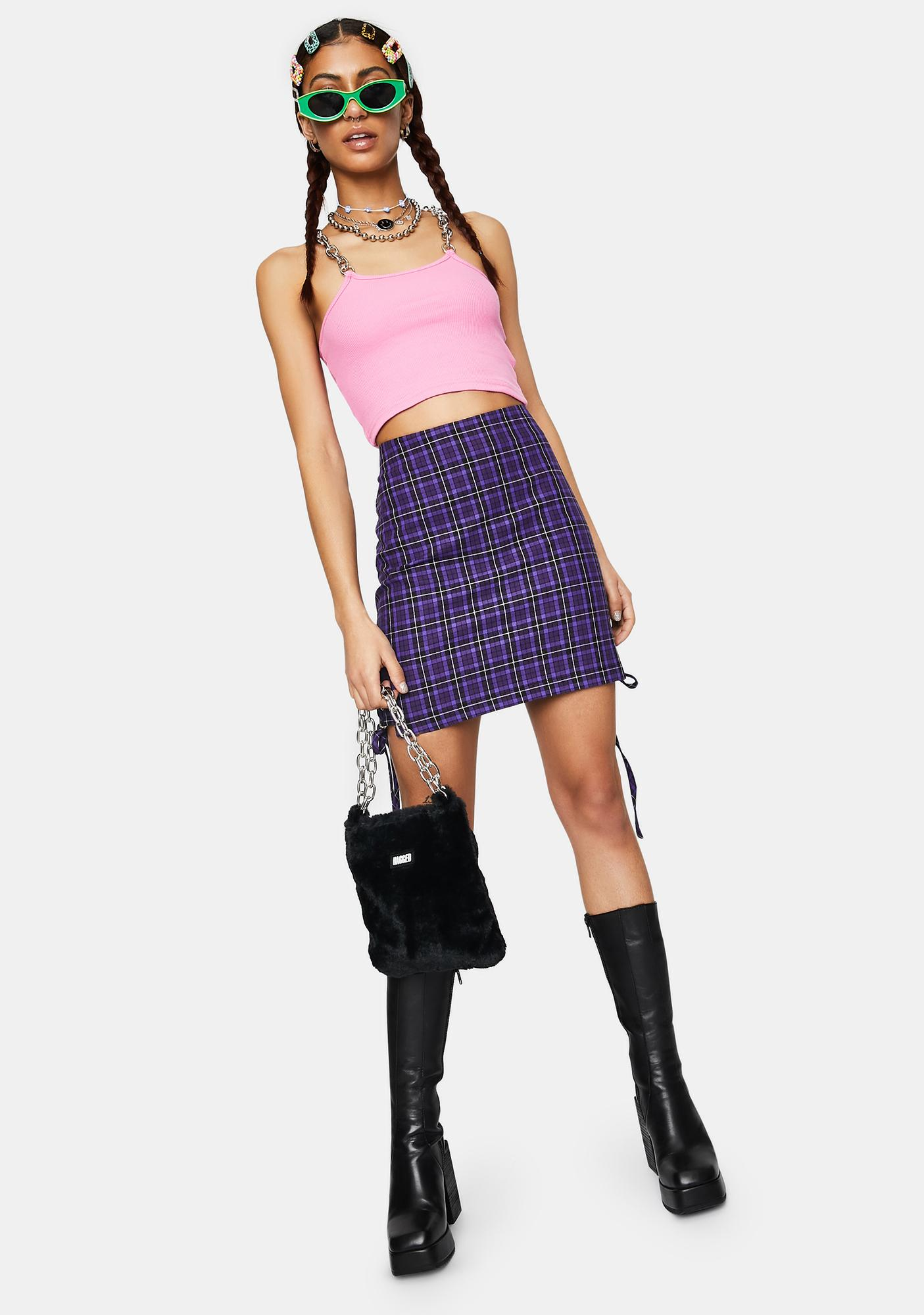 The Ragged Priest Depict Plaid Lace-Up Mini Skirt