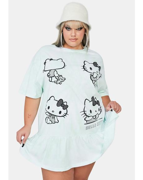 Curve Hello Kitty Tie Dye Frill T-Shirt Dress