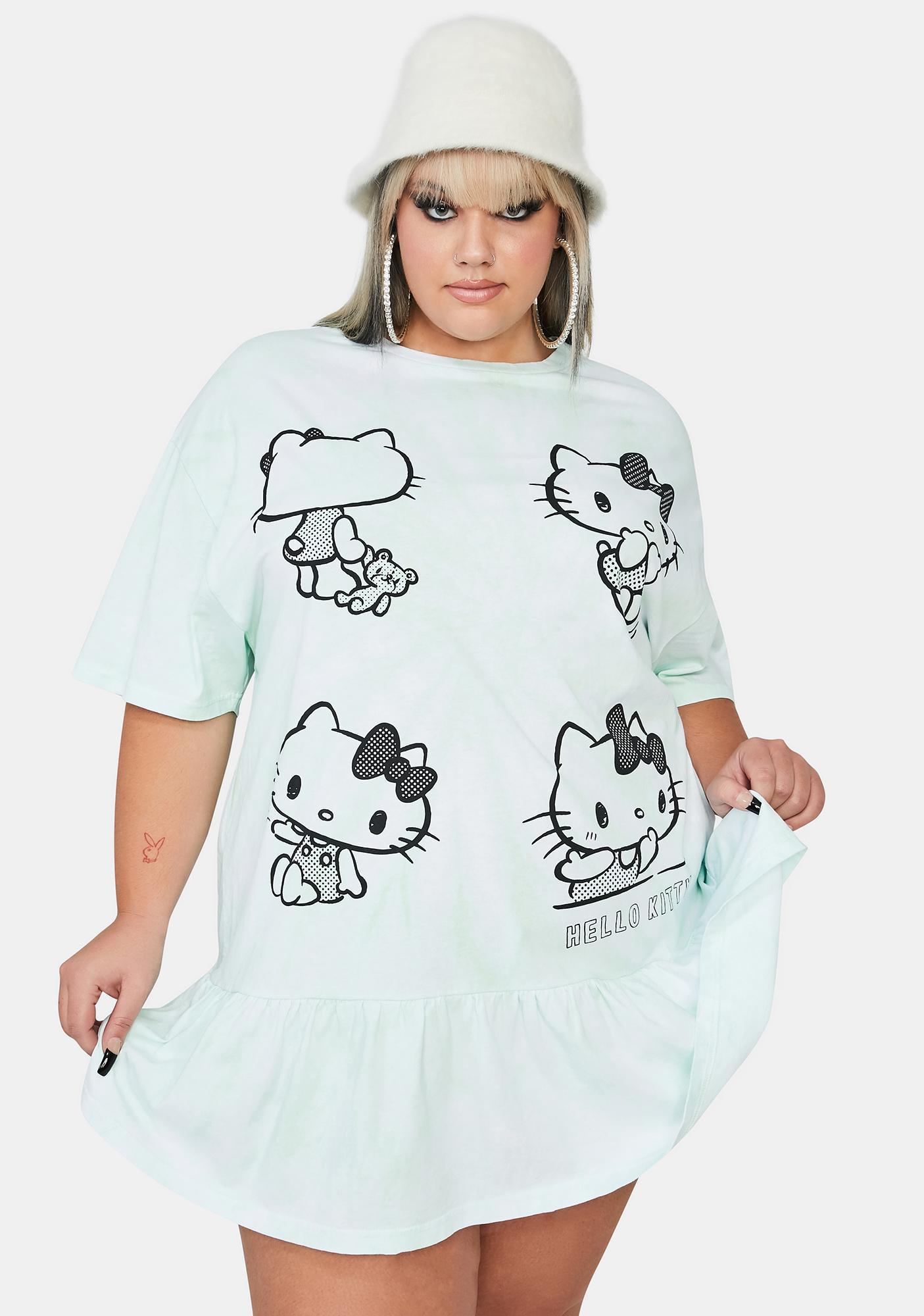 NEW GIRL ORDER Curve Hello Kitty Tie Dye Frill T-Shirt Dress