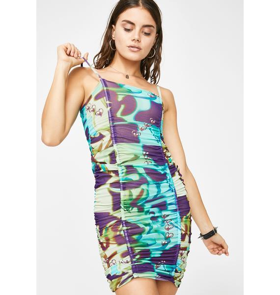 Why Not Us Green Holiday Mesh Mini Dress