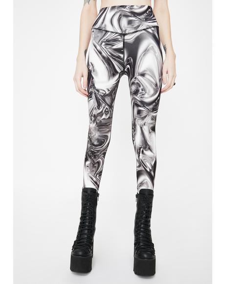 Chrome Print High Waist Leggings