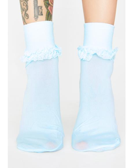 Sky Ruffle Me Up Crew Socks