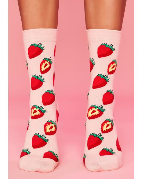 Sweet Strawberry Swing Crew Socks
